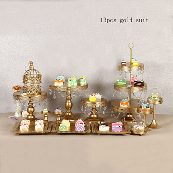 4 - 15 piece of gold led cart of the metal crystal wedding party dessert display pedestal display