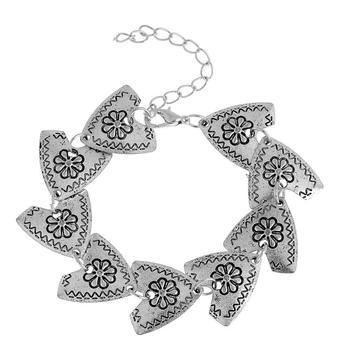 Classical Women's Retro Alloy Coin Bracelet Tibet Silver Triangle Flower Chain Bracelets Cuff Bangle Vintage Charm Jewelry