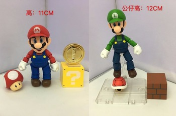 Game Super Mario & Luigi Mario Brothers SHF Ver. Boxed 12cm PVC Action Figure Collection Model Doll Toy Gift